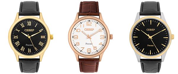 В тоже время есть коллекции, часов СЕВЕР которые дополнены декоративным оформлением: фоновый рисунок циферблата, имитация хронографа.