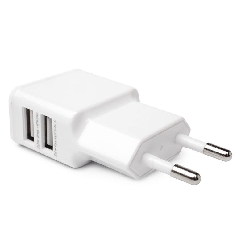 Сетевое зарядное устройство USB 2 порта по 1A, белый